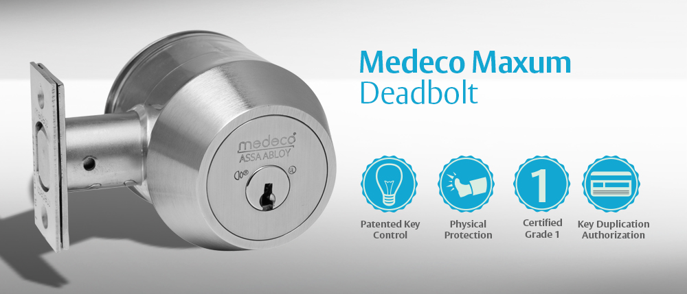 Medeco 11WC602 Maxum High Security Captive Deadbolt Lock Residential Commerical